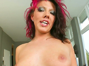 Sexy alternative girl giving her pussy to two studs