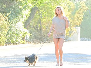Sexy Kennedy loves walking her dog out naked
