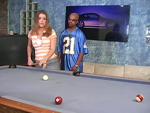 Katie Thomas Gets Interracial Hardcore Sex On The Pool Table