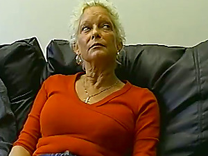 Hot blonde granny moans with pleasure as she sucks and rides a cock