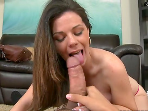 Passionate Tessa sucks a cock and gets fucked on a sofa