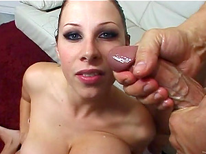 Brunette Gianna Michaels gets fucked in her mouth and gives a blowjob