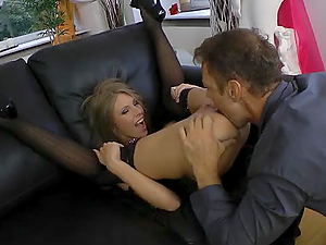 Long legged girl in stockings gets toyed and fucked