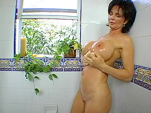 mature woman shows her Big Tits and GETS HER SHAVED PUSSY DOGGY STYLE FUCKED