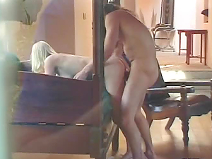 Shaved pussy blonde gets  blows big cock and jizzed on her holes fucked hard