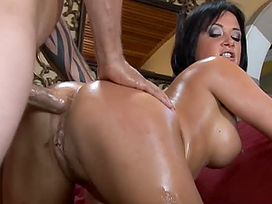 Oiled babe gets her ass fucks and Rough anal sex