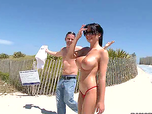 Beauty Rebeca Linares Shows her Amazing Tits in a Beach