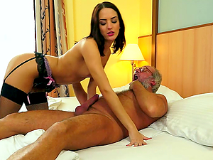 GORGEOUS BRUNETTE BABE IN STOCKINGS GETS FUCKED BY OLD DUDE