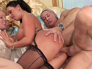 TWO SLUTS IN TIGHT SKIRTS AND LINGERIE MAKE THE OLD DUDE CUM