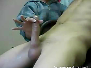 Shy girl touches her boyfriend's cock timidly till he cums