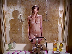 KYRA MILAN THE SLIM BRUNETTE TAKES A SHOWER AND SHOWS HER BODY