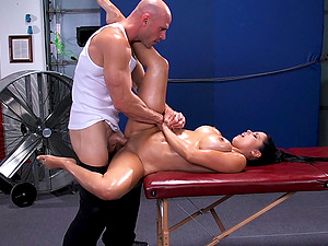 GORGEOUS BRUNETTE GETS OILED AND MASSAGED THEN DRILLED